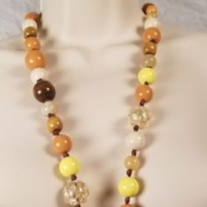 Jewelry - Multi Colored Beaded Fabric Stringed Necklace